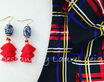 RED Mini Stacked Tassel Earrings | Chinoiserie, blue and white, short, ginger jar, gold, dangle, lightweight, oval, dainty, tiered, layered