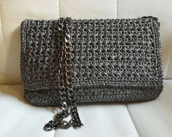 Metallic shoulder bag, gray bag, crossbody bag, starstitch bag, flap closure bag, crocheted shoulder bag
