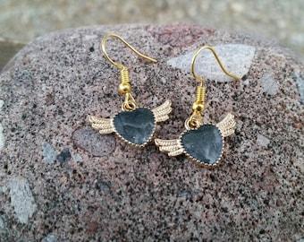 Black Glitter Enamel Heart Charm Earrings with Wings - Womens fashion accessories - girls jewlery