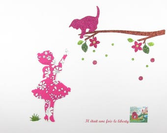 """Applied shape in your little girl and cat """"Come quickly little rascal!"""" liberty Capel fuchsia glitter flex pattern fusible cat"""