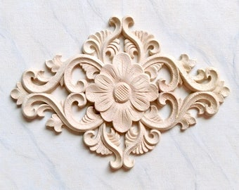 wooden appliques for furniture. Flower Wood Applique, Furniture Onlay, Decoration, Embellishment, Wooden Appliques For R