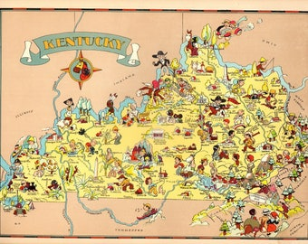 1930's Vintage Kentucky Picture Map State Cartoon Map Print Gallery Wall Art Map Collector Gift for Traveler Birthday Wedding Gift RT