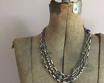 Sterling Silver Extra Long Wrap Necklace Bracelet Multi Chain Seaglass Beach Glass Vintage Heavy Chains Upcycled Recycled  - Many The Miles
