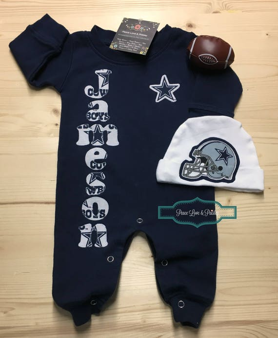 Dallas cowboys personalized baby romper and hat set cowboys dallas cowboys personalized baby romper and hat set cowboys baby outfit personalized baby going home outfit baby shower gift texas baby negle Images
