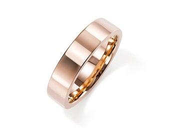 5.00mm wide rose gold wedding band, men's wedding ring, unique, simple, wide rose gold band, white gold, red gold band, man engagement