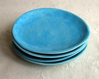 Handmade Salad/side plates,pottery,ceramic,stoneware,turquoise, organic side plates by Leslie Freeman