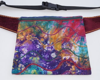 Colourful batik bag,hip bag waist bag,belt bag,fanny pack,travel pouch,festival wallet,hip pouch, waist purse,cell phone hip pouch,boho bag,