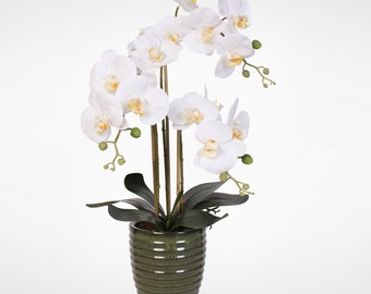 Real Touch White Phalaenopsis  Orchids in a  Gunmetal Vase #F-136G