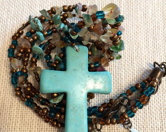 Multistrand Beaded Necklace w/ Cross Pendant