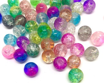 20 crystal glass beads, 8 mm, multicolor
