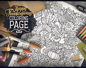 HAPPY THANKSGIVING Digital Coloring Page, Adult Coloring, Holiday Printable, Greeting Doodles Art, Autumn Doodling, Zenart Digital Download