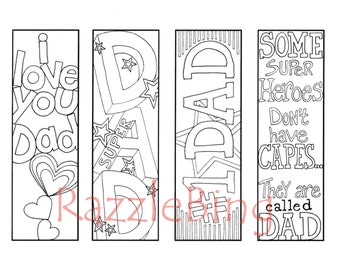 "DIY Bookmark Printable Coloring Page-Zentangle inspired ""Super Dad""-Zendoodle Doodle-PDF Instant Download-Happy FATHERS Day"