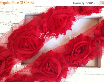 "SALE 30% OFF 2.5"" Yard Shabby Rose Trim- Red Color- Red Shabby Rose Trim - Red Shabby Flowers - Hair Accessories and Craft Supplies"