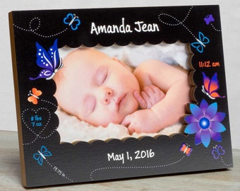 Personalized Baby Picture Frame, Baby Girl Picture Frame, New Baby Girl Frame, Baby Girl Frame, Baby Girl Birth Frame, Baby Butterfly Frame
