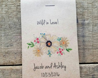 Brand New! RUSTIC Wildflower Seeds Wild in Love Flower Seed Packet Favor Shabby Chic Cute Favors for Bridal Shower or Wedding!