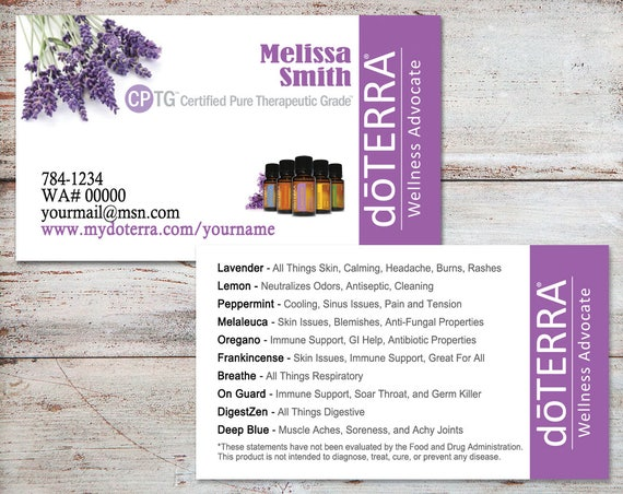 Doterra Business Cards Doterra Cards Essential Oil Business
