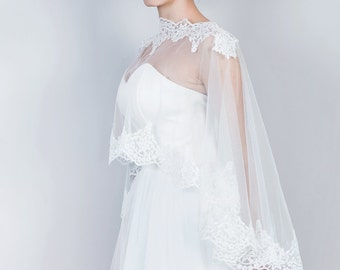 Bridal Lace Cape, Bridal Lace Capelet, Wedding Cape in White and Ivory, Tulle bridal capelet