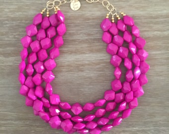 Purple Bead Necklace - Beaded Statement Necklace MultiStrand in Pink Radiant Orchid