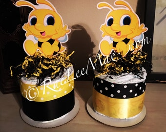 Cute-as-can-bee Diapercake mini/Bee 1st Birthday Decorations/bumble bee Theme Party Baby Shower/Birthday Decorations/Baby Shower centerpiece
