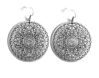 Bohemian Chic, Turkish, Ethnic, Silver Disc Earrings