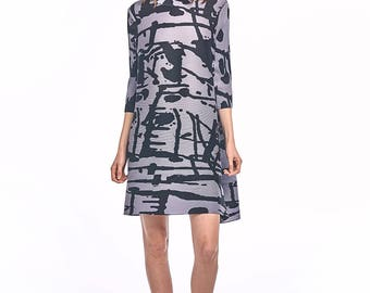 Antonia pleated Dress with black print
