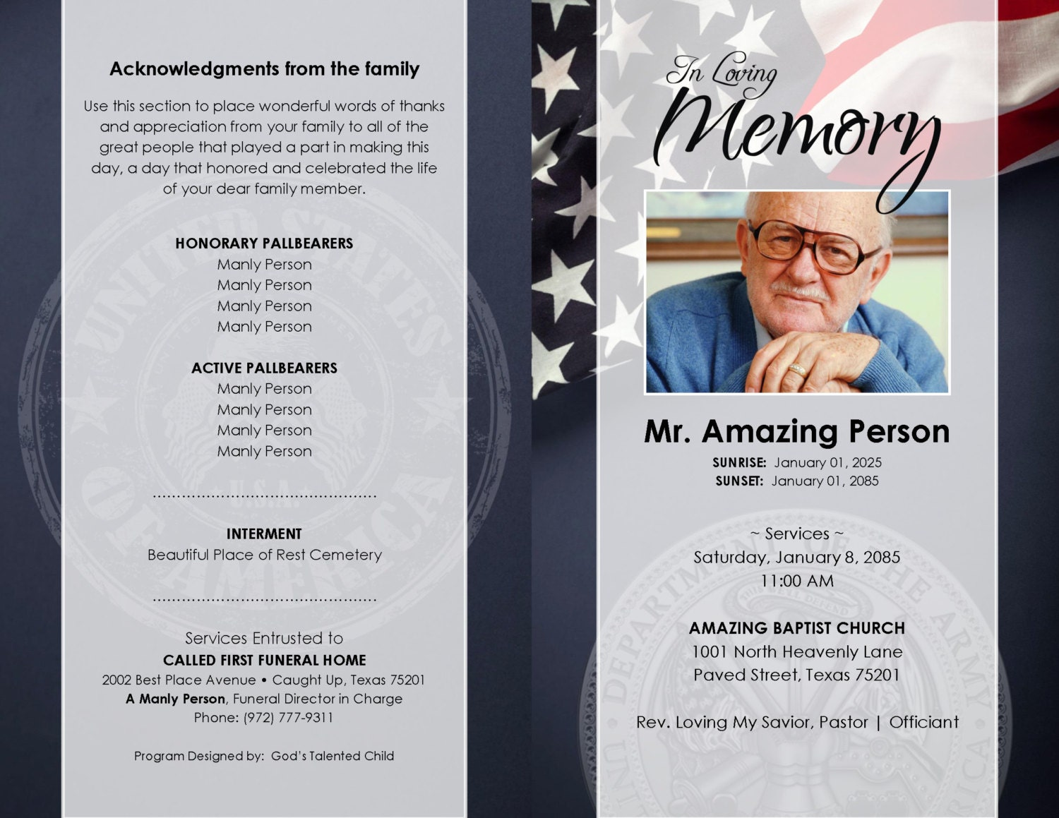 free printable funeral program template - Ecza.solinf.co