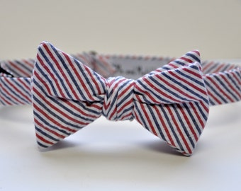 Men's Bow Tie, Seersucker Bow Tie, Red White and Blue Striped Bowtie