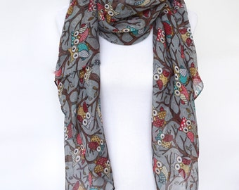 Owl Print Scarf / Gray Womens scarves / Wearable Art / Fashion Accessories / Summer Fashion Scarf / Boho Scarves / Romantic Gifts For Her
