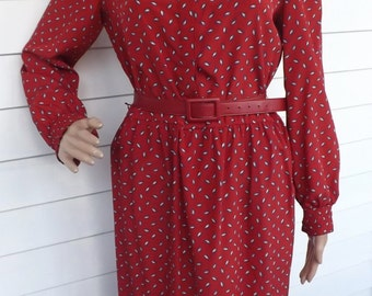 Red Print Dress Paisley Secretary Leslie Fay Petites Vintage 80s S M