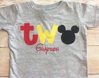 Mickey Mouse 2nd Birthday / Mickey TWO Shirt / Boy TWO Outfit / Boy Second Birthday Shirt / Disney TWO Shirt / Disney Trip Clothing