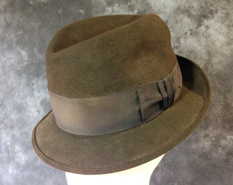 60's brown wool felt stingy brim 7 1/2 faded