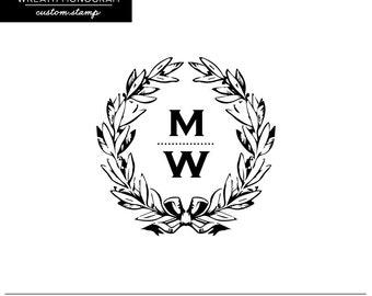 Wreath Monogram Custom Stamp - Monogram - Wedding Stamp - Favor Stamp - Wreath - Antique - Laurel - Wooden Handle Stamp