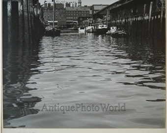 Portland piers antique art photo by William Wright Maine