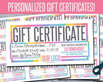 Gift Certificates! Personalized! Print Your Own! - GFC04