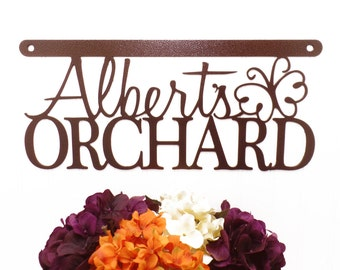 """Orchard Sign   Butterfly   18""""W x 8""""H   Orchard   Name Sign   Custom Sign   First Name   Wall Hanging   Wall Decor"""