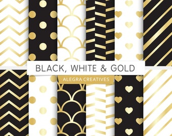 Black, White & Gold digital paper, black and gold, white and gold, gold wedding, scrapbook papers (Instant Download)