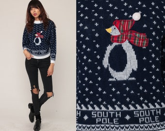 Penguin Sweater 80s Vintage Animal Sweater SOUTH POLE Winter Sweater Snowflake Nordic Retro Slouch Ski Pullover 1980s Blue Knit Small