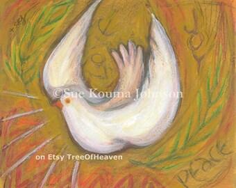 Confirmation Gift Holy Spirit Dove archival print Inspirational Catholic Art Wedding Gift