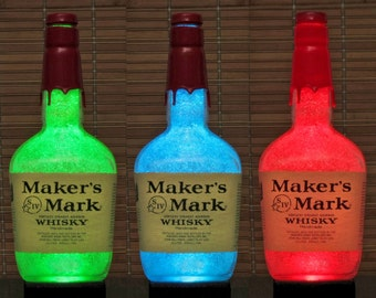 Makers Mark Kentucky Straight Bourbon Whiskey  Color Changing Bottle Lamp Bar Light  LED Remote Controlled Eco LED -Bodacious Bottles-