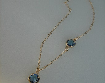 Gold chain, gold-plated, with sweet Tulip and crystal blue
