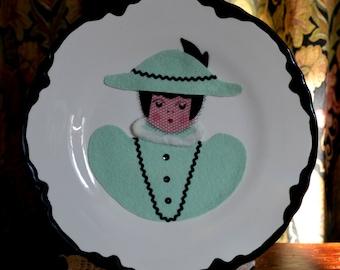Felt Faced Plates Two Decorative Plates Handmade Kitchen Decor 50s Kitsch Kitchen & Plates felt faces | Etsy