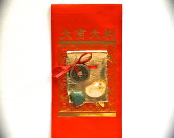 Lucky CHINESE NEW YEARS Kit-With Red Envelope,I-Ching Coin,Wealth Crystals-Aventurine-Citrine,Shiny Gold Bag-2018 Chinese New Year-Good Luck