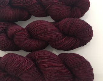 Hand Dyed 4ply BFL yarn in colourway Mrs Danvers 100g