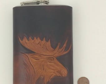 Moose Flask -  Leather Wrapped Moose Flask