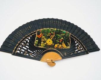 Vintage fan, Flamenco fan, 1950's fan, retro fan, black fan