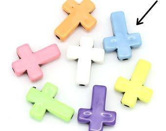 Blue Cross (x 6) Acrylic beads