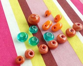 Set of Lampwork beads and Lampwork bird beads