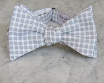 Silver Gray and White Plaid Bow Tie - clip on, pre-tied with strap, self tying - ring bearer outfit, groomsmen ties, gift