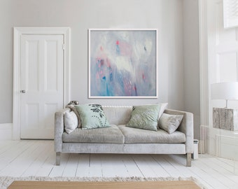 "Large Giclée print, Abstract print of original painting, blue,pink, white, ""Willow ii"""