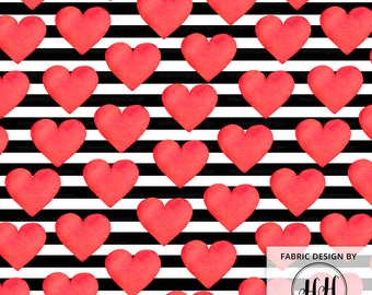 Watercolor Heart Fabric / Valentine's Day Fabric / Black + White Stripes Fabric / Bold Red Love Stripe Heart Print by the Yard & Fat Quarter